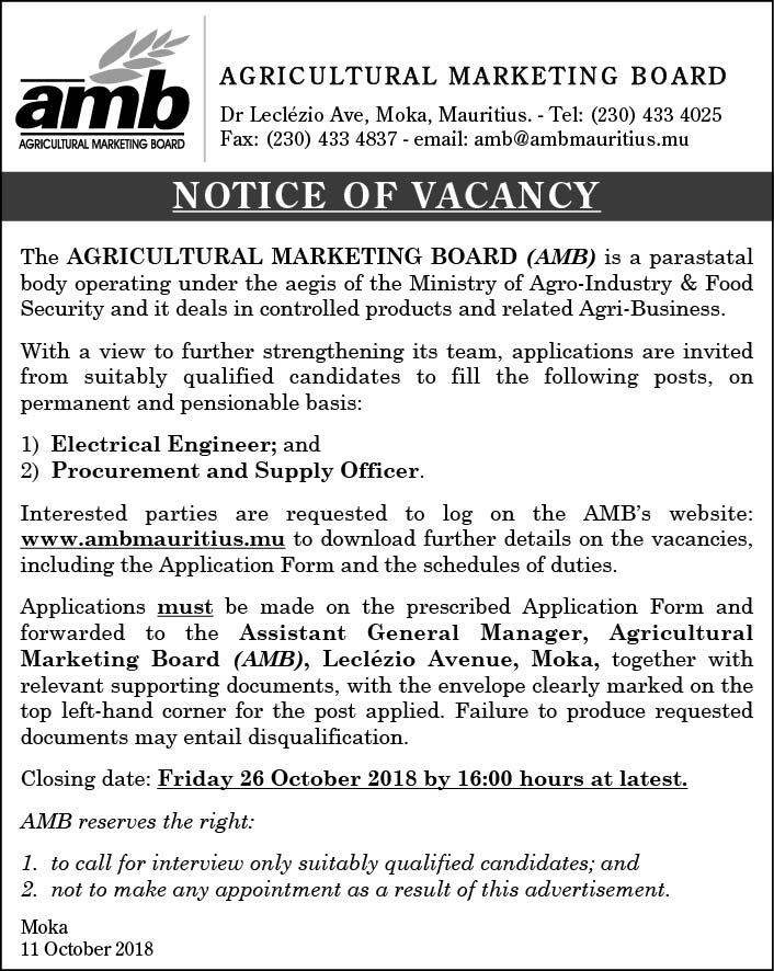 Post vacancies in mauritius 519 Jobs